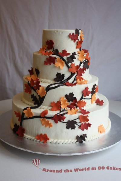 Branches And Leaves Cake For A Fall Wedding