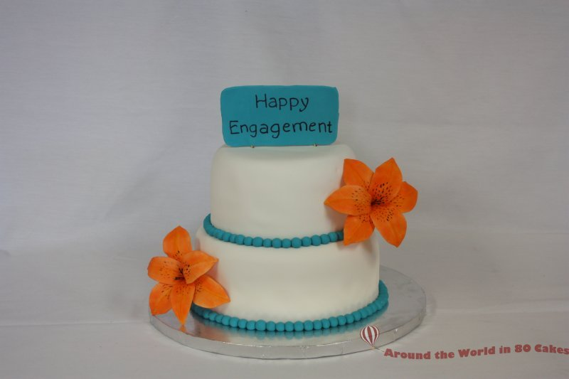 Wedding Cakes With Tiger Lilies Tiger Lily Engagement Cake