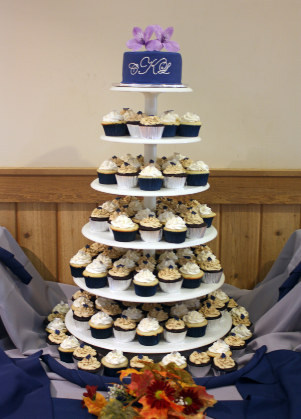 Navy Blue Wedding Cupcake Tower