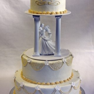 Traditional Wedding Cake in Ivory and White