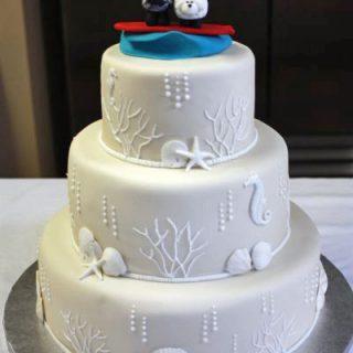 Surfing and Seashell Wedding Cake