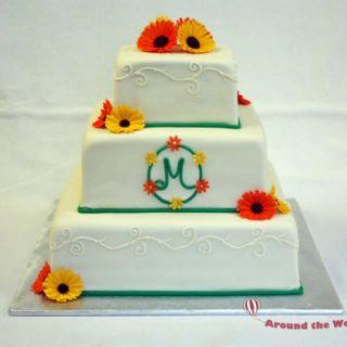 Bright Gerbera Daisy Wedding Cake