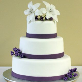 Lilies and Freesia Wedding Cake