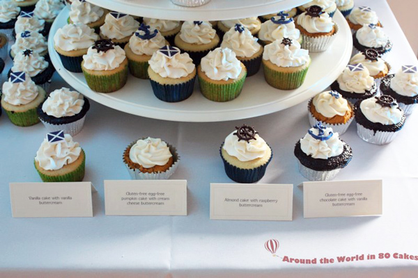 nautical wedding cupcake tower closeup