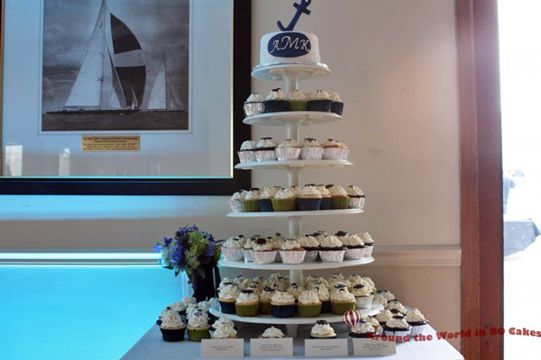 nautical wedding cupcake tower