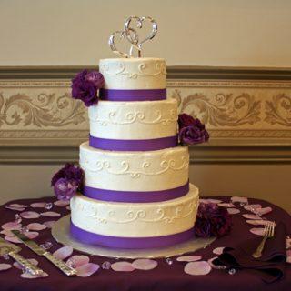 Purple Lisianthus Wedding Cake