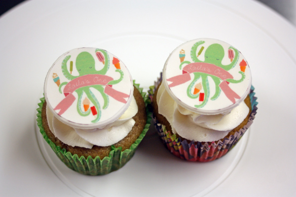 octopus first birthday gluten free cupcakes