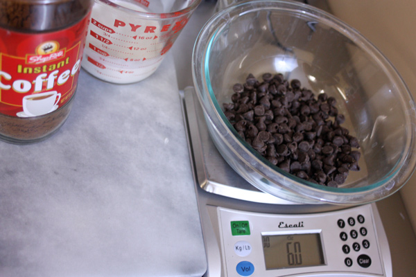Mocha Ganache recipe- weighing chocolate