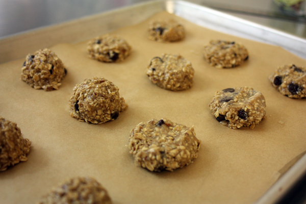 Vegan Banana cookies on-tray