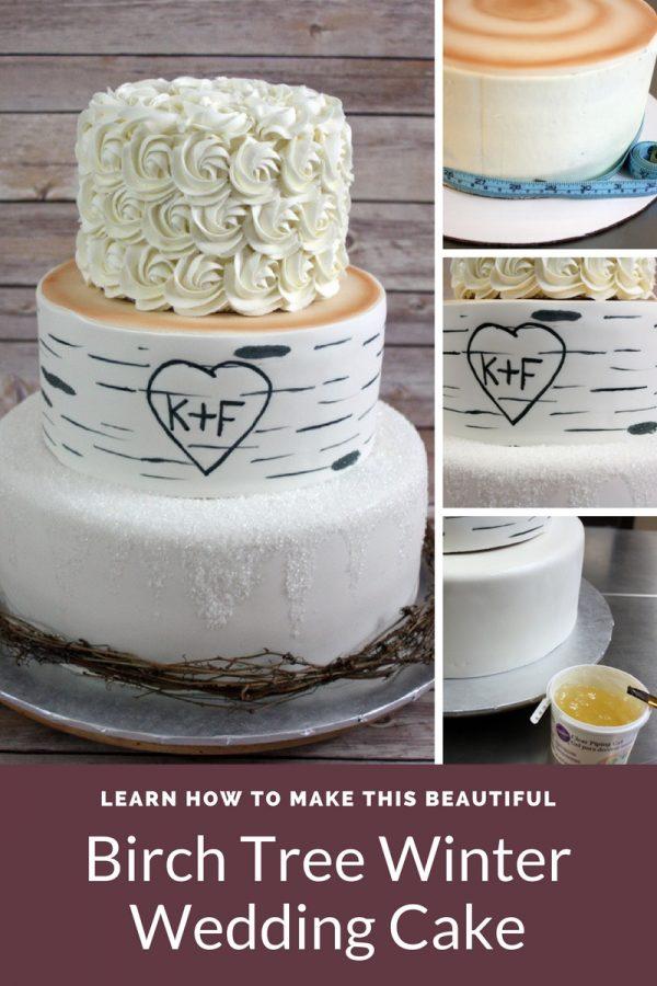 Birch Tree Winter Wedding Cake