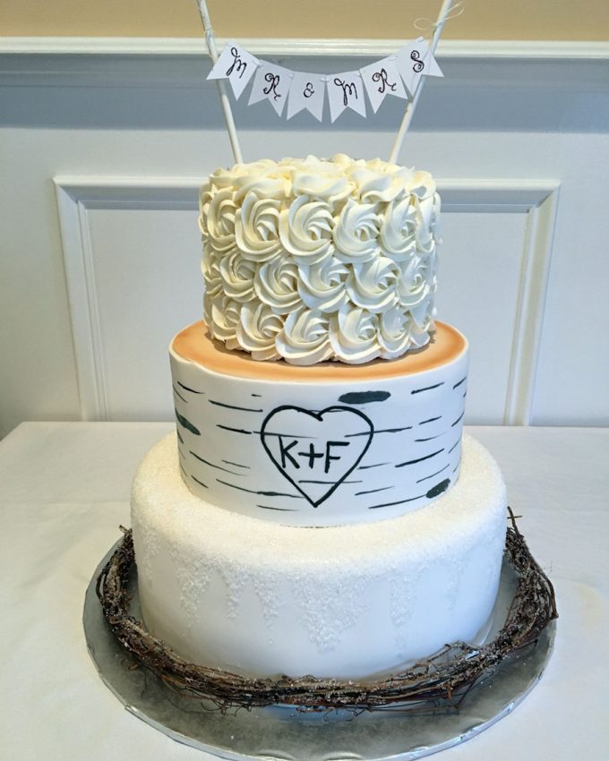 Birch Tree Winter Wedding Cake - Banner Cake Topper