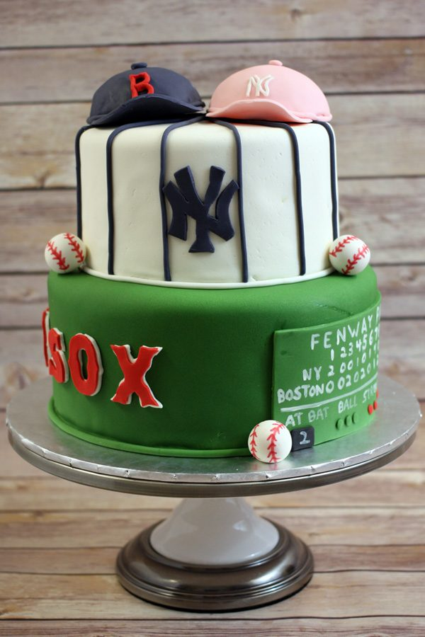 Baseball Themed Bridal Shower Cake | www.80cakes.com