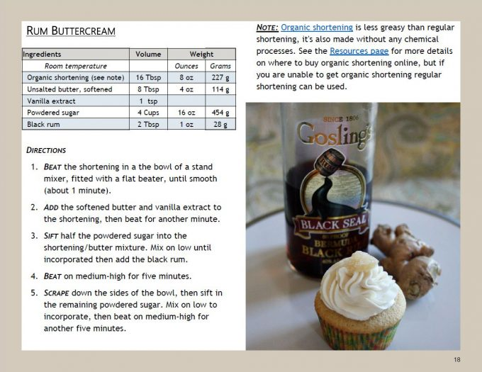 page from book with rum buttercream recipe