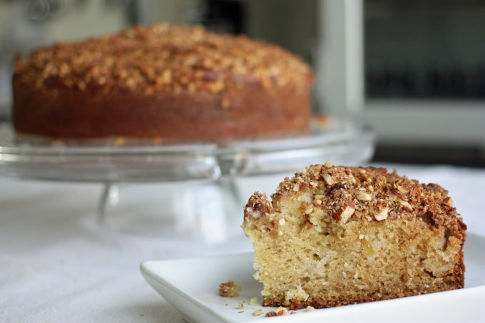 slice of apple cardamom crumb cake