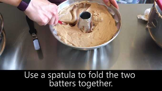 Use a spatula to fold the two batters together