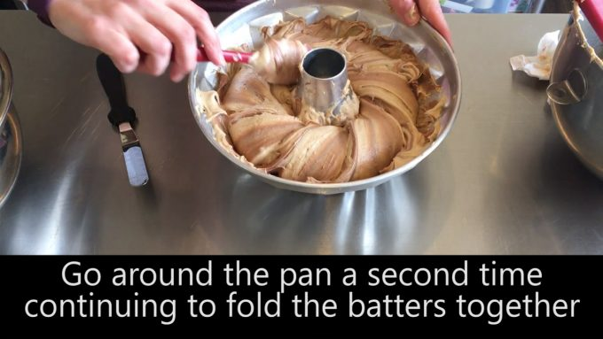 Go around the pan a second time continuing to fold the batters together
